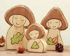 Action Price Play Set - Wooden Waldorf Toy MUSHROOM GNOME FAMILY - birthday ring figurine - autumn nature table - waldorf toy