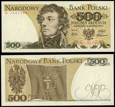 """1974 series Polish 500-złoty banknote, featuring Tadeusz Kościuszko and the Coat of Arms of the coat of arms of Poland on the obverse side, and the """"Żywią i Bronią"""" (""""To Feed and Defend"""") banner of the Kościuszko Uprising on the reverse side."""
