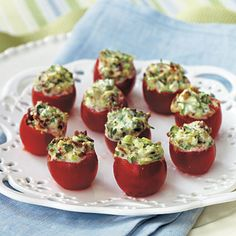 Tomato-Bacon Nibbles | A 1/4 teaspoon measuring spoon is just right for scooping out tiny tomatoes for stuffing.
