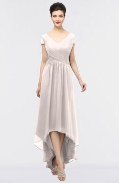 Light Pink Mature A-line Short Sleeve Floor Length Beading Bridesmaid Dresses