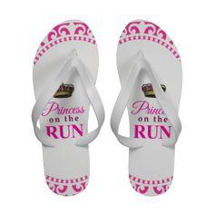 Princess on the Run - pink & white Flip Flops