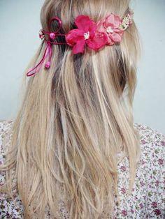 headbands pink blocks  trançado com 2 flores!!
