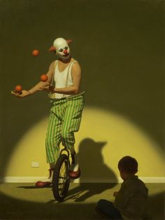 """Olympic Dad"" - Painting by Ron Francis Ron Francis, Andrew Jones, Bo Bartlett, Picture Writing Prompts, Send In The Clowns, Circus Clown, Figure Reference, Australian Artists, Figure Painting"