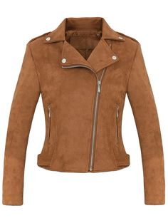 Cropped Faux Suede Biker Jacket - BROWN S