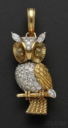 CARTIER Diamond and Cat's-eye Chrysoberyl Owl Pendant-Brooch, Cartier - Skinner