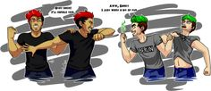 """""""I finally finished it at 3:30 in the morning. And here, pictured, is my headcanon of Darkiplier and Antisepticeye. If you wanna stick around and read my early morning rambles (aka explanation of headcanon), then it's below the thing. Otherwise, enjoy..."""" (Not my fanart)"""