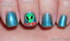 Lazy Lacquerista: Nail Art Tutorial :: Easy Come in Peacey Alien UFO