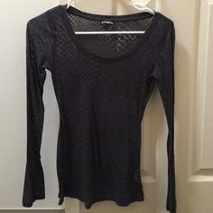 Express long sleeve shirt Charcoal grey long sleeve express top. Worn once. Size XS lace like pattern Express Tops Tees - Long Sleeve