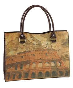 Love this Taupe & Dark Brown Colosseum Leather Tote by Valentina on #zulily! #zulilyfinds