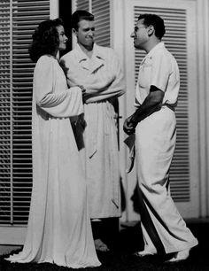On set:  The Philadelphia Story, 1940.  Hepburn, Stewart  George Cuckor.