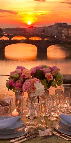 A romantic dinner at the Four Seasons Hotel Firenze on Ponte Vecchio overlooking the Arno River in Florence