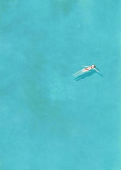 Belhoula Amir aka Cosmosnail: Alone Illustration Series - Alone (swimming pool) / 8 Art And Illustration, Dinosaur Illustration, Creative Illustration, Guache, Grafik Design, Photomontage, Oeuvre D'art, Les Oeuvres, Illustrators