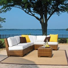 Classy and chic, place this corner sectional on your patio for a comfortable modern look.