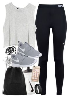 """Outfit for the gym with Nike items"" by ferned on Polyvore featuring Monki, NIKE, MINKPINK, Kara, H&M, Casetify and Fitbit"