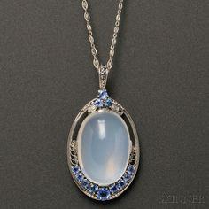 Arts & Crafts Platinum, Moonstone, and Sapphire Pendant, Tiffany & Co.
