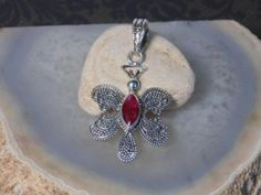 Natural Ruby Butterfly Pendant 100% 925 Sterling Silver 1-1/2