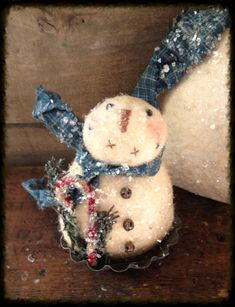 Primitive snowman in vintage tart tin - Liberty Creek Primitives