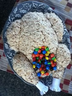 Desert turkey it is rice crispy treats and m&ms as stuffing