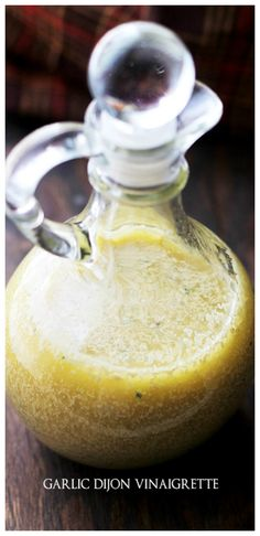 Garlic-Dijon Vinaigrette - A simple and delicious salad dressing combines the flavors of Dijon mustard and garlic! SO GOOD!