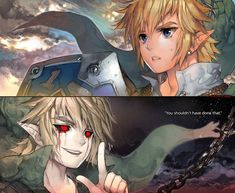 Link and Ben Drowned (oooooo link u shouldn't have done that)