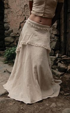 Long Gypsy Boho Off White Wrap skirt Earthy cotton Adjustable - Rock Bohemian Skirt, Gypsy Skirt, Boho Gypsy, Gypsy Style, Bohemian Style, My Style, Boho Outfits, Skirt Outfits, Estilo Hippie