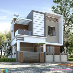 1230 square feet 3 bedroom modern budget oriented double storied house plan by Line Construction & Interiors, Thrissur, Kerala. Modern Exterior House Designs, Modern House Facades, Modern Architecture House, Cool House Designs, Modern House Design, Exterior Design, Duplex Design, 2 Storey House Design, Bungalow House Design