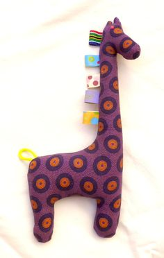 Purple and Orange Fabric Giraffe Teething and by MathildeAndCo, Soft Toys Making, African Crafts, Sewing To Sell, Baby Sewing Projects, Fabric Toys, Orange Fabric, Teething Toys, African Fabric, Softies