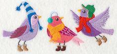 Fashion Birds in Winter Wear 1 design (L8836) from www.Emblibrary.com