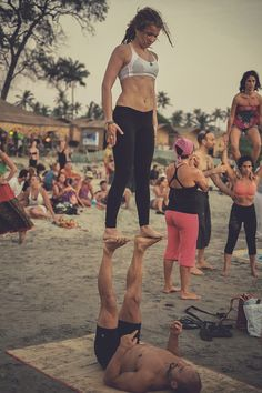 "veganbaby: "" the-art-of-yoga: "" AcroYoga in Arambol, India Photographer Yogi Casino (www.casinonelson.tumblr.com) ॐ☯The Art of Yoga☯ॐ "" I will do real acro one day """
