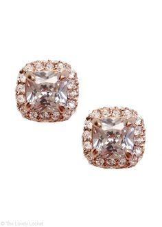 Cushion Cut Pavé Sparkler Stud Earrings in 18k Rose Gold | Pavé Set Austrian Crystal Studs | JewelSugar