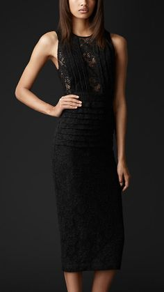 English Lace Pleat Detail Dress | Burberry