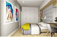 nowoczesna sypialnia, sypialnia z zabudową, zabudowa nad łóżkiem, wezgłowie, tapicerowane wezgłowie, toaletka, ukryte półki, sypialnia, wyjście na taras, obrazy w ramach, białe ramy, biała sypialnia, szare wezgłowie