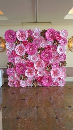 Pink Paper Flower Wall  8ft x 8ft   Extra Large Paper Flowers by PoshStudios | Etsy