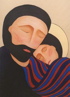 Gisele Bauche, Joseph and Jesus, Acrylic, spiritualityandart.ca