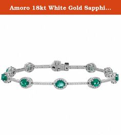 Amoro 18kt White Gold Sapphire and Diamond Braceclet (1.28 cttw, G-H Color, Si1-SI2 Clarity). Ten oval cut genuine Emeralds weighing a total of approximately 3.50 carats, and two hundred and thirty round brilliant genuine Diamonds weighing a total of approximately 1.28 carats in an exclusive 18kt white gold Amoro design.