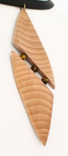 Bois long collier avec pendentif collier bois collier oeil