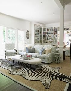 Love the Zebra and white! Similar to my own sitting room combo.