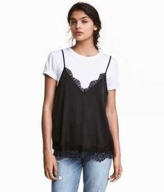 Satin Camisole Top with Lace