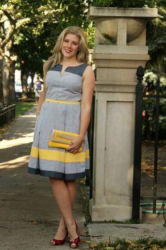 @eshakti dress with pleats and stripes - blue dress, red shoes