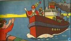 Zie ginds komt de stoomboot. illustratie uit het boekje St. Nicolaasfeest, 1940