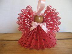Angel Christmas Ornament Dark Pink Paper Lace Ribbon Angel Ornament U-Pick Trim Ribbon Tree Ornament Christmas Decor SnowNoseCrafts
