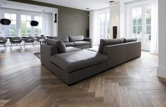 modern herringbone XL smoked, white stained