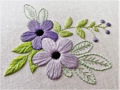 Floral Embroidery Pattern for Beginners – Craft & Patterns PDF Hand Embroidery Pattern Violet Flower Botanical Hand Embroidery Patterns Flowers, Hand Embroidery Tutorial, Silk Ribbon Embroidery, Learn Embroidery, Crewel Embroidery, Hand Embroidery Designs, Flower Patterns, Embroidery Thread, Eyeliner Embroidery