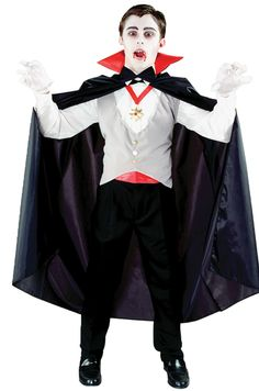 Cape, vest with bow tie, medallion, cummerbund, and gloves. Pants are not included. One size fits up to size 12.