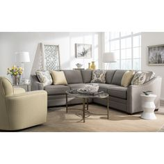 Group seating for family and friends |  F9 Custom Collection Two Piece Customizable Corner Sectional Sofa with Right Return by Craftmaster