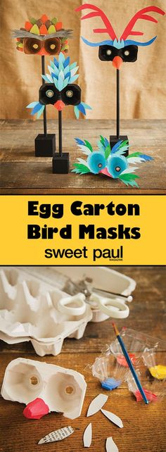 Use something as simple and everyday as egg cartons to create these beautiful masks. They're like a menagerie of exotic birds.