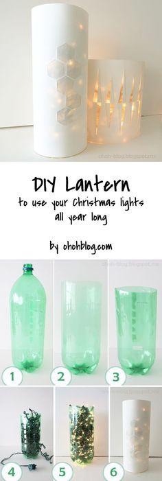 Lantern with Christmas lights