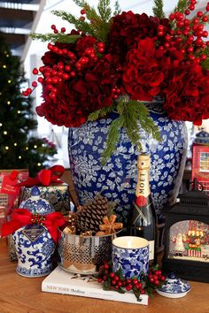 Have you done your Christmas shopping? We love our collection of blue and white … Have you done your Christmas shopping? We love our collection of blue and white decor combined with pops of red. Perfect for a Hampton Style Christmas. Blue Christmas Decor, Gold Christmas Decorations, Christmas Tablescapes, Christmas Home, White Christmas, Holiday Decor, Christmas Shopping, Christmas Ideas, Christmas Flowers