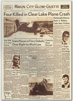 Rock n roll was still in its infancy when it suffered its first tragedy. three of the biggest stars of the day — Buddy Holly, Ritchie Valens and J. Richardson, known as the Big Bopper — were killed in a plane crash near Clear Lake, Iowa.