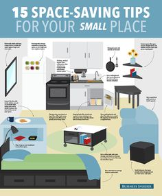 15 Ways To Save Space In Your Small Apartment Read more: http://www.businessinsider.com/space-saving-decorating-tips-2014-9#ixzz3Db3naYWH